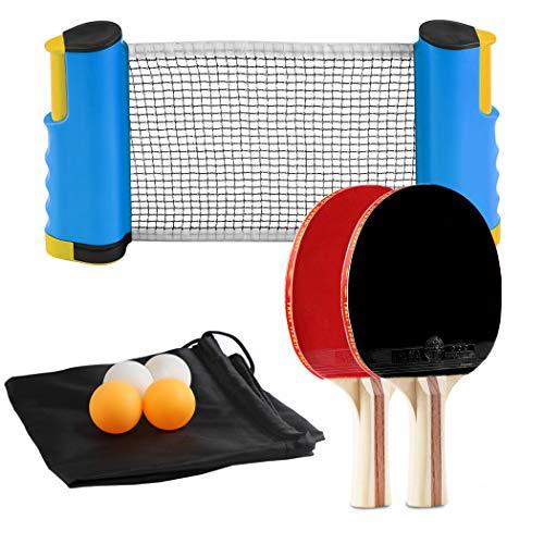 JUSTDOLIFE Ping Pong Set, Racchetta da Ping Pong, Portatile creativo Set da Ping Pong per Indoor Outdoor, per Principianti, Famiglie (4 Ping Pong + 2 Racchette Ping Pong+1 Rete Ping Pong)