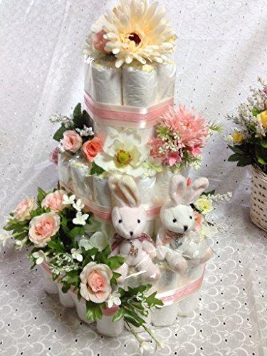 おむつケーキ出産祝い 豪華3段 双子ちゃん用  おしゃれで可愛い人気大 (パンパースSサイズ)