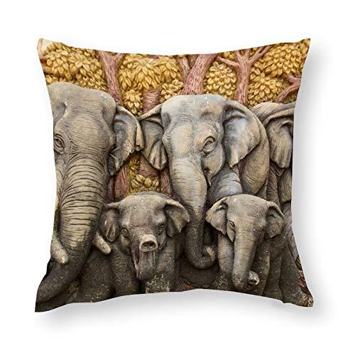 Elefante Family (2) Elegante funda de almohada de microfibra suave, decorativa, elegante funda de almohada de 45 x 45 cm