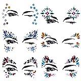 Lady Up 6 PCS Face Jewels Tattoo Set Mermaid Gem Rhinestones Eyes Body Stickers Bindi Crystals Glitter for Rave Party Festival