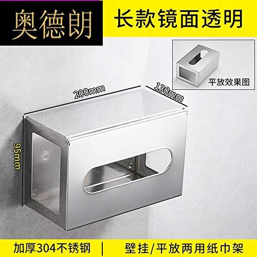 Joeesun Spiegel Tissue Box Badezimmer Edelstahl 304 Sanitär Toilettenpapier Box Rollenpapier Tissue Box Handablage Verdicken SPT-304 Edelstahl Transparent Tissue Box-Spiegel