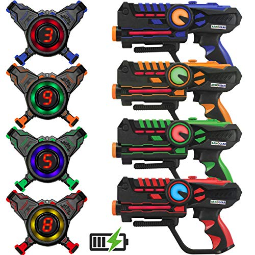 ArmoGear Rechargeable Laser Tag | Laser Tag Guns and Vests Set of 4 with 2-Way Target Options | Cool Lazer Tag Gift Toy for Kids, Teen Boys & Girls, Indoor & Outdoor Play | Ages 8+