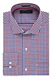 Tommy Hilfiger Men's Non Iron Regular Fit Check Spread Collar Dress Shirt, Rouge, 17' Neck 32'-33' Sleeve