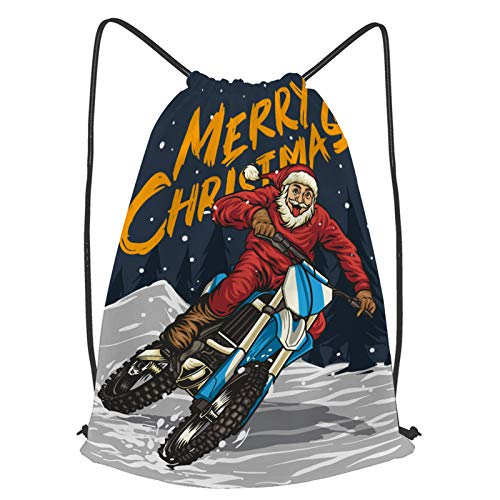 fudin Unisex Wasserdicht Kordelzug Rucksack Santa reitet Motocross Nacht Turnbeutel Sporttasche für Yoga Freien Schule Strand Schwimmen