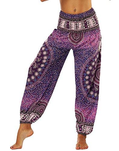 NAYINLAN Women Smocked Waist Harem Hippie Boho Yoga Palazzo Casual Pants with Pockets,Floral Purple