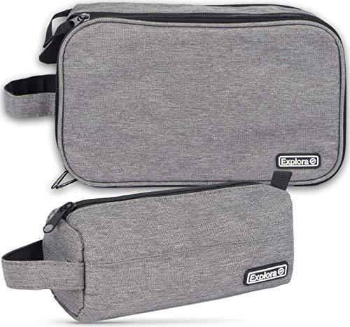 Explora Travel Toiletry Bag Set For Men & Women Contains 2 Bags Dopp Kit Shaving Waterproof Toiletries Bathroom Organizer Make Up Bags Best Value Mans Grooming Travel Bags