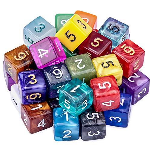 SIQUK 35 Piezas Dados de rol Poliédrico 6 Caras Dados de Colores para DND y Enseñanza de Matemáticas, con Bolsas