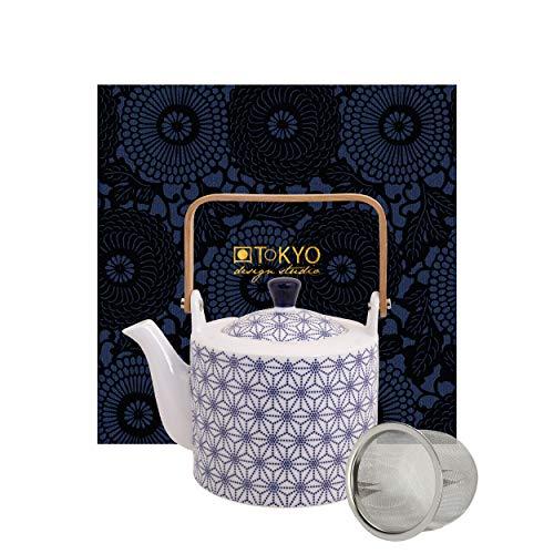 TOKYO design studio Nippon Blue Tee-Kanne blau-weiß, 1,3 Liter, asiatisches Porzellan, Japanisches Design, inkl. Geschenkverpackung