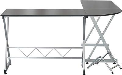 Amazon Com Tempered Glass L Shape Corner Desk With Pull