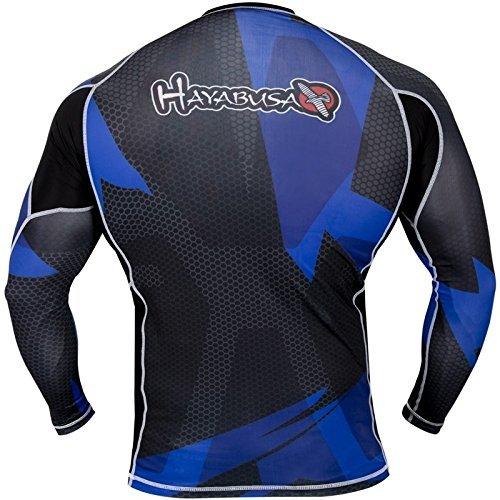 Hayabusa Metaru Rash Guard Long Sleeve (Black/Blue, Large)