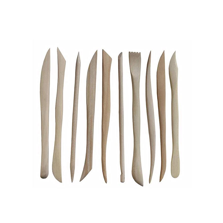 DGQ 10PCS Wooden Clay Sculpture Knife Pottery Sharpen Modeling Tools Set - Shaping Clay Sculpture Pottery Modeling Carving Kit