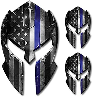 3 pack Thin Blue Line Molon Labe Spartan Helmet Gladiator Decal Come and Take it Police Fallen Officer Yeti Truck Car Van Window Vinyl Sticker