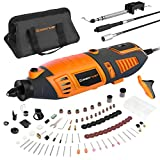 EnerTwist Rotary Tool Kit with MultiPro Keyless Chuck, 36' Flex Shaft, 10 Universal Attachments and 130 Accessories, Variable Speed Electric Drill Set for Home DIY and Crafting Projects, ET-RT-170