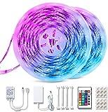 Tiras LED RGB de 10M, kit de 2 tiras marca TECKIN a prueba de agua con control remoto, ideal para TV, decoración de luces LED para el hogar, la cocina, la Navidad, etc., RGB 5050 con 16 colores.