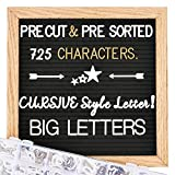 Felt Letter Board with Letters, 10x10 inch Changeable Letter Boards + Pre Cut & Sorted 725 White &...