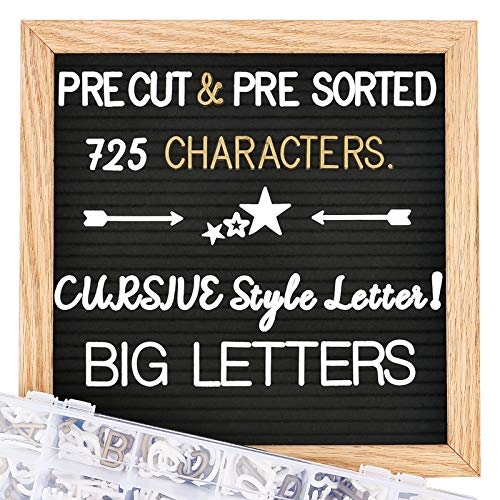 Felt Letter Board with Letters - Pre Cut & Sorted 725 White & Gold Characters, Cursive Style Letters, Big Letters, Changeable Letter Boards with Stand, Plastic Organizer, Wall Mount, Gift Box.