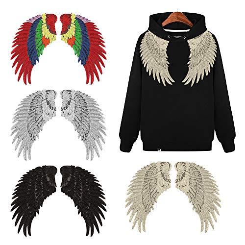 OOK 4 Paare Große Pailletten Patches Angel Wings Bügeln Auf Patches DIY Pailletten Applique Bling Wings Eisen Patches für Jacken Kleidung Taschen Dekoration