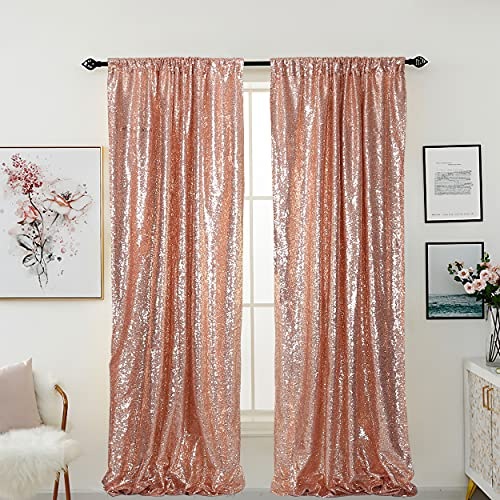 HELAKU Sparkly Sequin Backdrop Curtains - 2 Panels 2.4x8Ft Rose Gold Sequin Backdrop Glitter Background Curtains for Birthday Wedding Party Decorations