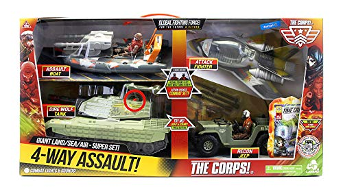 Lanard Toys The Corps Combat Strike Air/Sea/Land Vehicle Set Action Figure, One Size, Camouflage