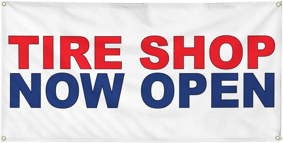 Vinyl Banner Multiple Sizes Tire Shop Car Great interest Red New York Mall Blue Auto Now Open