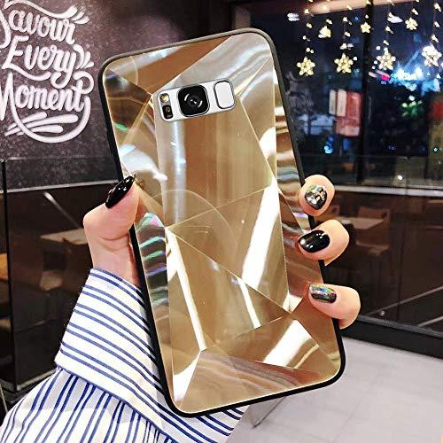 Uposao Kompatibel mit Samsung Galaxy S8 Plus Hülle Spiegel Schutzhülle Bling Glänzend Glitzer Kristall Strass TPU Silikon Handyhülle Weiche Silikon Rückseite Glitzer Hülle Case Tasche,Gold