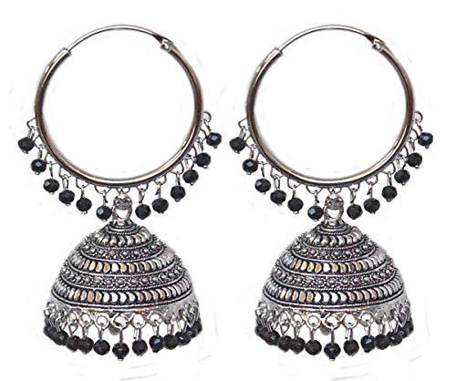 Pahal - Pendientes de aro de plata india con perlas de cristal negro, diseño de Jhumki Bollywood