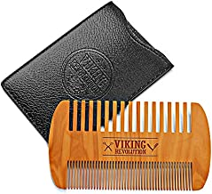 Wooden Beard Comb & Case, Dual Action Fine & Coarse Teeth, Perfect for use with Balms and Oils, Top Pocket Comb for Beards & Mustaches by Viking Revolution