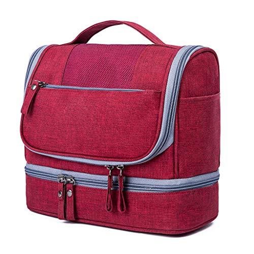 Sacs de Toilette pliants portatifs de Sac de Toilette de Voyage Multifonctionnel avec l'organisateur de Crochet met en Sac Les Sacs cosmétiques idéaux pour Le Voyage (Color : Wine Red)