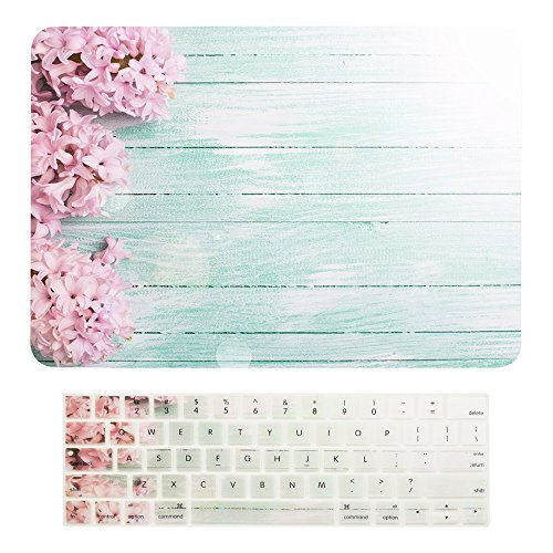 TOP CASE - Macbook Pro 15 WITH Touch Bar (2016 Release) 2 in 1 Bundle, Floral Pattern Matte Hard Case + Keyboard Cover for MacBook Pro 15' (15' Diagonally) Model: A1707 with Touch Bar - Pink Hyacinth