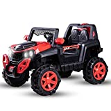 Baybee Dodge Baby Toy Car to Drive, Rechargeable 12V Battery Operated Ride-On Car for Kids Music Lights with R/C Jeep, Electric-Car, Kids Car, Racing Car for Boys & Girls Age 2-6 Years Old- (Red)