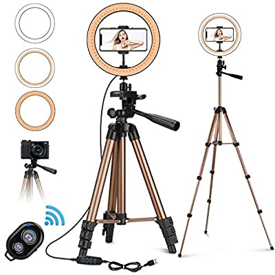 "PEYOU 10"" Selfie Ring Light with 50"" Tripod & Phone Holder for Makeup Live Stream, LED Camera Ring Light Kit with Remote Shutter for Photography and YouTube Video by PEYOU"