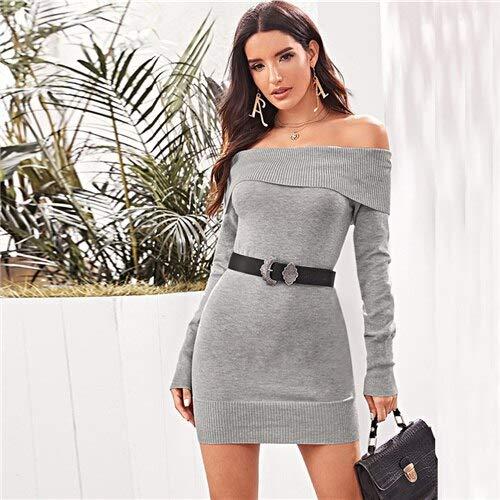 GMZA Grey Schouderfrei Elegant trui zonder riem Dames herfst lange mouwen geribd potlood minikleding
