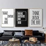 Piense fuera de la caja cartel de letras lienzo pintura motivacional negro blanco tipografía imagen pared arte impresión moderna decoración del hogar