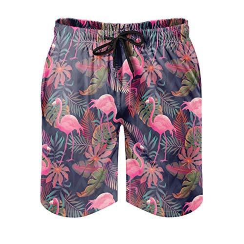 XJJ88 Flamingo - Bañador para hombre, diseño de flamencos con bolsillos