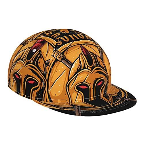 ZORIN Sombrero de béisbol para hombres y mujeres Spartan Battle Casco Escudo Lanza Flat Brim Sun Sombreros Negro Ajustable Snapback Tapas Dad Trucker Cap