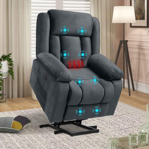 Electric Lift Chairs Recliners for Elderly, Power Recliner Chair, Comfy Velvet Home Theater Massage Recliner Sofa Chair with Heated Vibration, Lumbar Pillow/Side Pockets/USB Ports