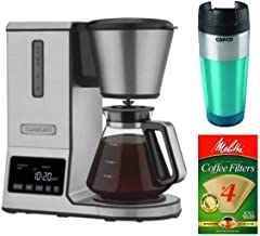 Cuisinart CPO-800P1 8-Cup PurePrecision Pour Over Coffee Brewer Bundle with Tumbler and Natural Brown Coffee Filter 4 (10...