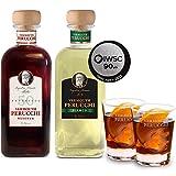 Pack Vermouth Perucchi Reserva + Vermouth Perucchi Bianco + 2 vasos – Elaborado en España – 15% Alcohol – Selección vins&co barcelona – - 1000 ml