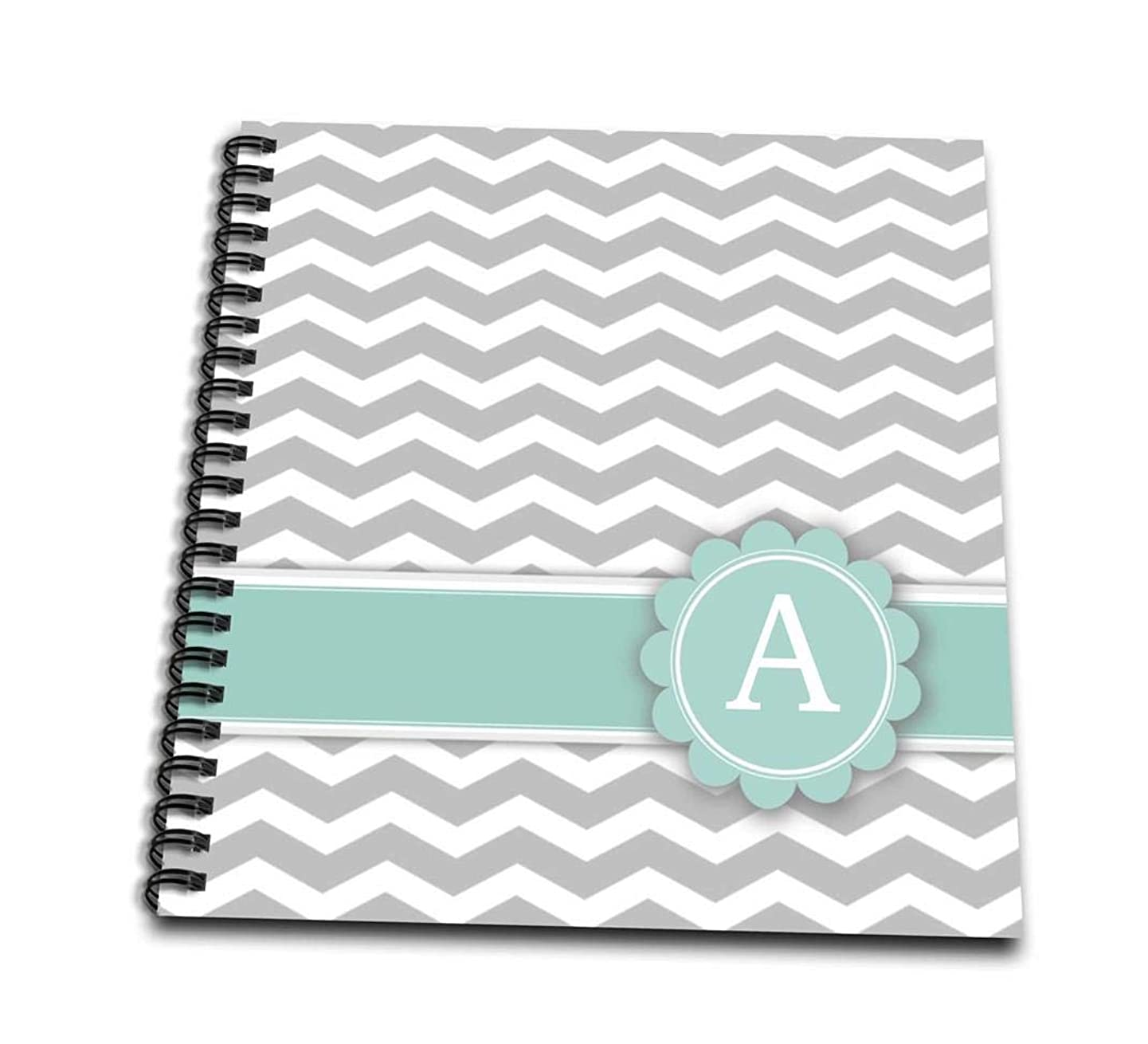 3dRose db_154220_1 Letter A Monogram on Grey and White Chevron with Mint Gray Zigzags Zig Zags Personalized Initial Drawing Book, 8