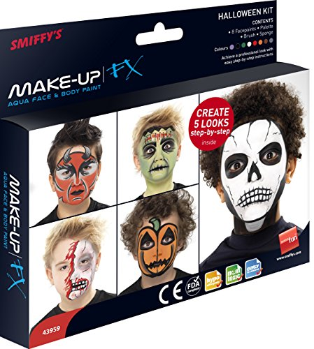 Smiffys Kit body paint e viso Halloweenpallet, 8 colori con spugna e pennello applicator