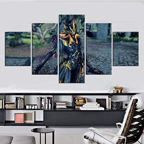 YQRX 5 Panel Impresiones sobre Lienzo Imprimir Pintura Arte De La Pared Imagen Modular Canvas Poster Decoración del Hogar Póster del Juego Ivara (Warframe) DecoracióN NavideñA Cuadro/150x80cm