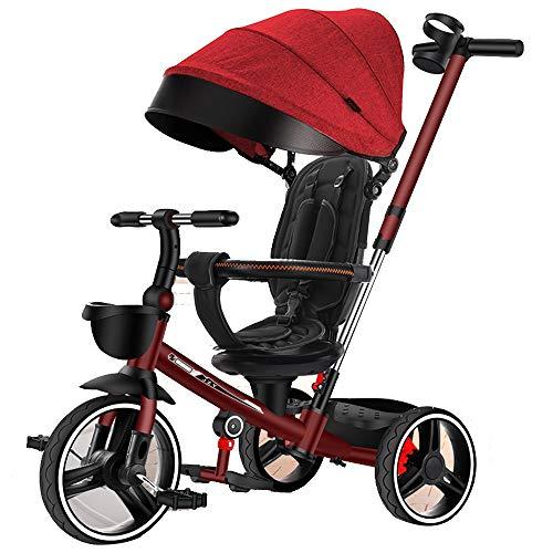 YumEIGE driewieler PU-wiel met hoog koolstofstalen frame, driewieler driewieler 2 snelheden intrekbaar stuur, kinderdriewieler tweeweg draaistoel rood