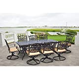 Hanover Traditions 9-Piece Cast Aluminum Outdoor Patio Dining Set, 8 Swivel Rocker Chairs and 42'x84' Rectangle Table, Brushed Bronze Finish with Tan Cushions, Rust-Resistant, TRADDN9PCSW-8