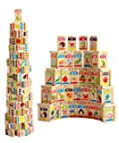 Guaishou New Chinese English Language Learning Wooden Blocks Domino Children's Educational Product Wooden Toys Recognize / Identify Fruits and Animals 100pcs