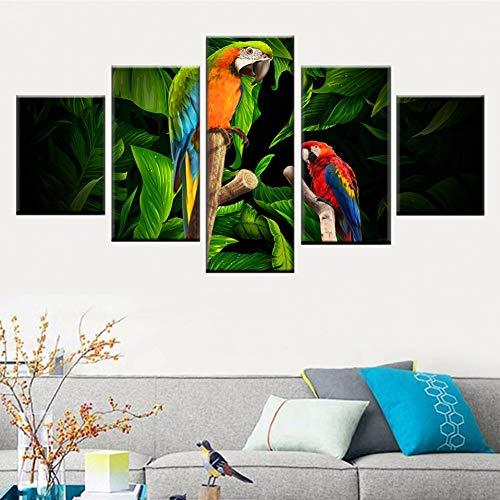LPHMMD 5 Stück Leinwandmalerei HD-Druck 5 Stück Tier Bunte Papagei stehend Zweig Bild Leinwand Malerei Kunst Wanddekoration Poster-40x60cm 40x80cm 40x100cm