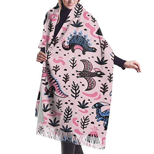 Winter Schal Damen Warm Baumwolle Nettes Cartoon-Dinosaurier-Muster in Blau Pashmina Schals mit Quasten/Fransen