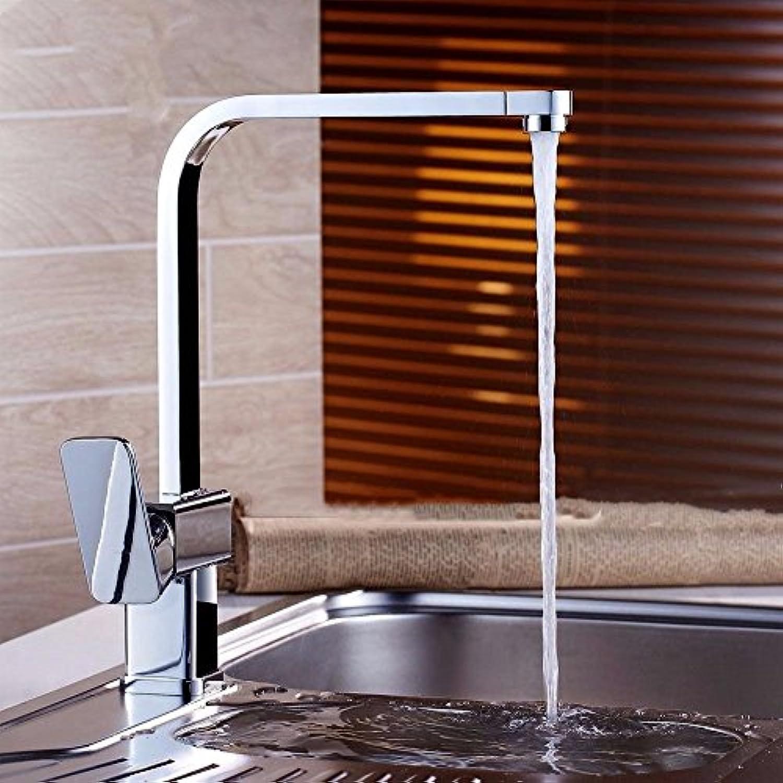 DMNJD Moderne einfache kupferne heie und kalte Wasserhhne Küchenarmatur heien und kalten WasserhahnKupfer quadratisch drehbare Wasserhahn Geeignet für alle Badezimmer-