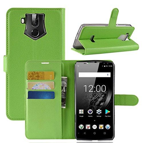 LMFULM® Hülle für Oukitel K10 (6,0 Zoll) PU Leder Magnet Brieftasche Lederhülle Litschi Muster Standfunktion Ledertasche Flip Cover für Oukitel K10 Grün