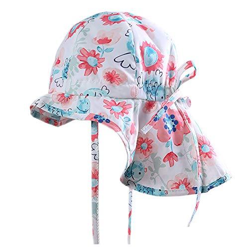 Lazzon Kinder Sonnenhut Mädchen Outdoor Strandhut UV Schutz Baby Sommerhut mit Nackenschutz und Bindebändern