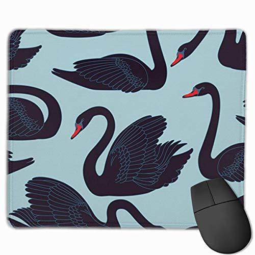 Muiskussen, bureaumuis, muiskussens, muismat rood dier hand zwarte zwanen patroon fauna met vogels vult witte snavel mooi